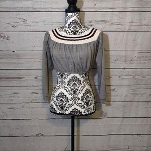 Fashion Nova Gray Long Sleeve Crop Top